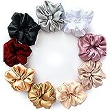 LinenBlue ® Pure Charmeuse Silk Hair Scrunchies for Women / Girls (Pack of 9)