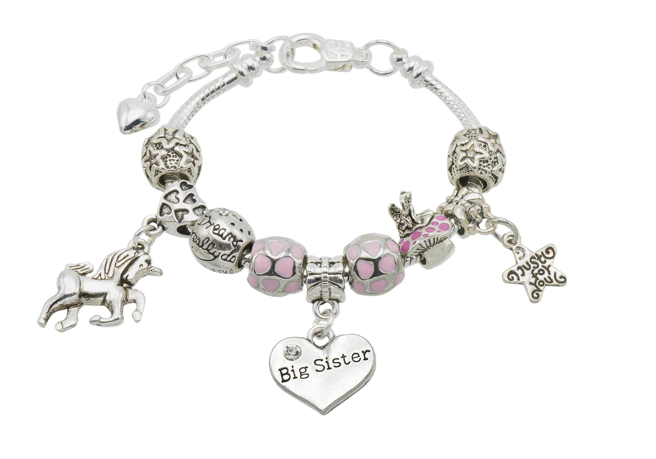 Jewellery Hut Girl's Unicorn Message Charm Bracelet with Gift Box – 9 Special Messages to Choose from
