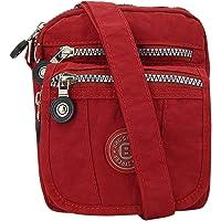 ekavale kleine Umhängetasche Damentasche aus hochwertigem wasserabwesendem Nylon Schultertasche (Rot)