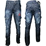 New Mens Crosshatch Designer Combat Cargo Regular Fit Denim Straight Leg Jeans