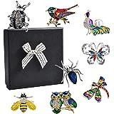 Pajaver Juego de 8 broches para mujer, broche de cristal con pájaro araña, mariquita, búho, pavo real, abeja, mariposa y libé
