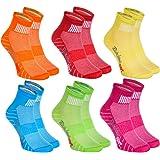 Rainbow Socks - Hombre Mujer Calcetines Colores de Algodón - 6 Pares - Naranja Rojo Amarillo Verde Mar Verde Fucsia - Talla