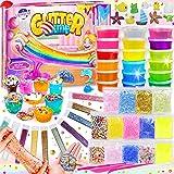 DIY Slime Kit para Niñas Niños, Fabrica de Slime con 18 Colores Crystal Slime, Resplandor en el Polvo Oscuro, Polvo de Brillo