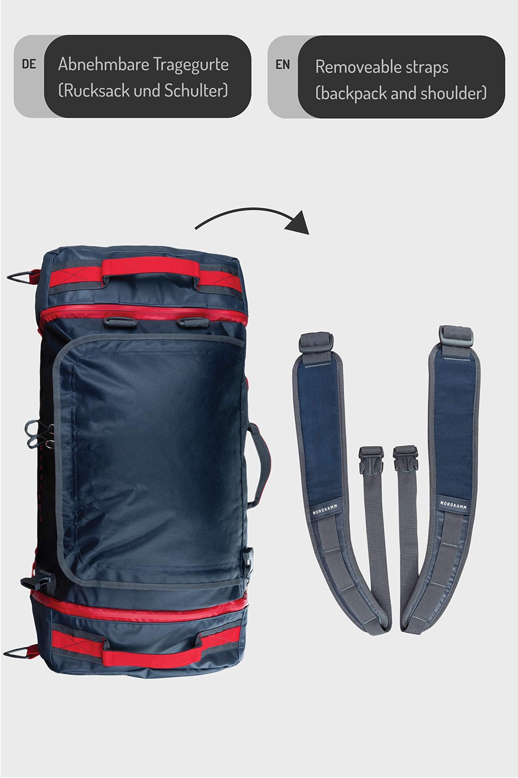 NORDKAMM-Reisetasche-60l-mit-Rucksack-Funktion-Duffle-Bag-Sporttasche-blau-faltbar-gro-fr-Damen-und-Herren-als-Rucksack-verwendbar