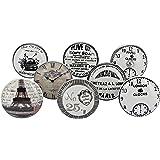 G Decor Wit/zilveren deurknoppen van keramiek, vintage, antieke meubelknoppen (pak van 8)
