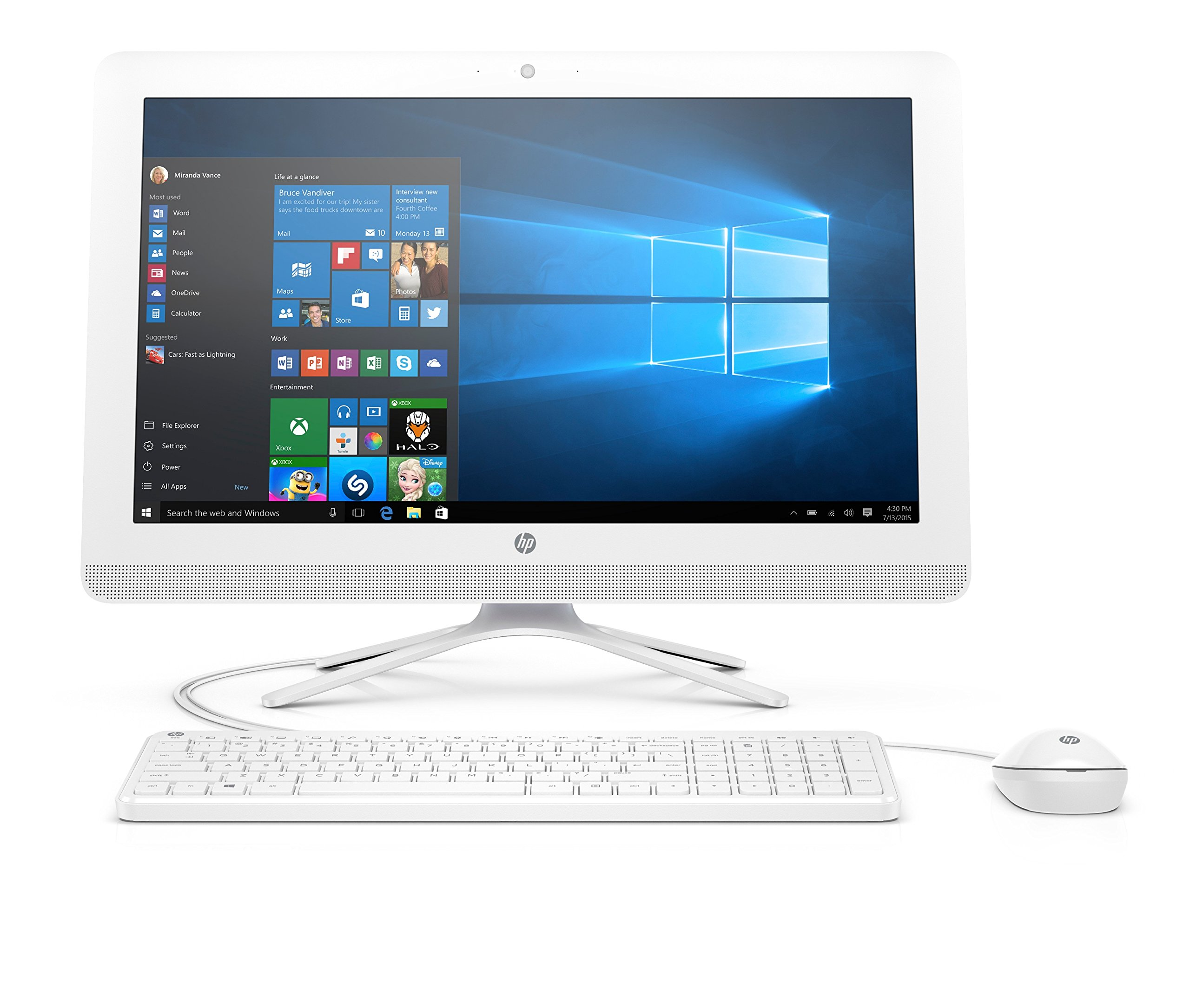 HP 20-c000na 20-Inch All-in-One Desktop PC (Snow White) – (AMD Quad-Core E2-7110 APU, 4 GB RAM, 1 TB HDD, AMD Radeon R2 Graphics, Windows 10)