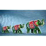 DreamKraft Paper Mache Elephant Showpiece (Set of 3,Green)