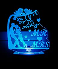 AEON METAL STICKER Plastic 3D Romantic Couple I Love You Heart Just Married Night Lamp (Multicolour, Code 2083)