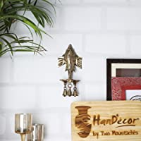 Two Moustaches Brass Ganesha Wall Hanging Deepak with Bells   Home Decor  