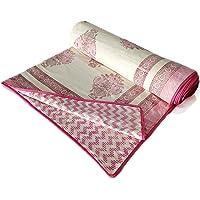 BLOCKS OF INDIA Hand Block Printed Cotton Single Size Reversible Malmal Dohar for Summer (Pink Motifs)