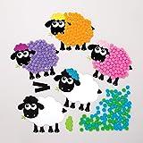 Baker Ross Kits de moutons aimantés en pompons (Paquet de 5) - Loisirs créatifs pour enfants et adultes AT465