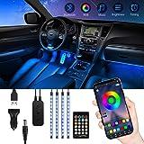 Auto-interieur LED-verlichting, TASMOR RGB LED Auto Bluetooth met APP, 48 LED's Meerkleurig waterdicht ontwerp voor auto, Aut