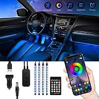 Striscia LED Auto Interni con APP, TASMOR Bluetooth Luci LED Auto con 48 led RGB 5050 8 Colori Multicolore Impermeabili…