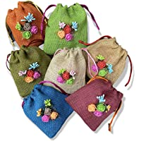 Pack of 5-TheHandikrafts Colored Jute Potli With Multicolour Flower Jute Linen Potlis, Diwali Gift Pouches | Gift Bags…