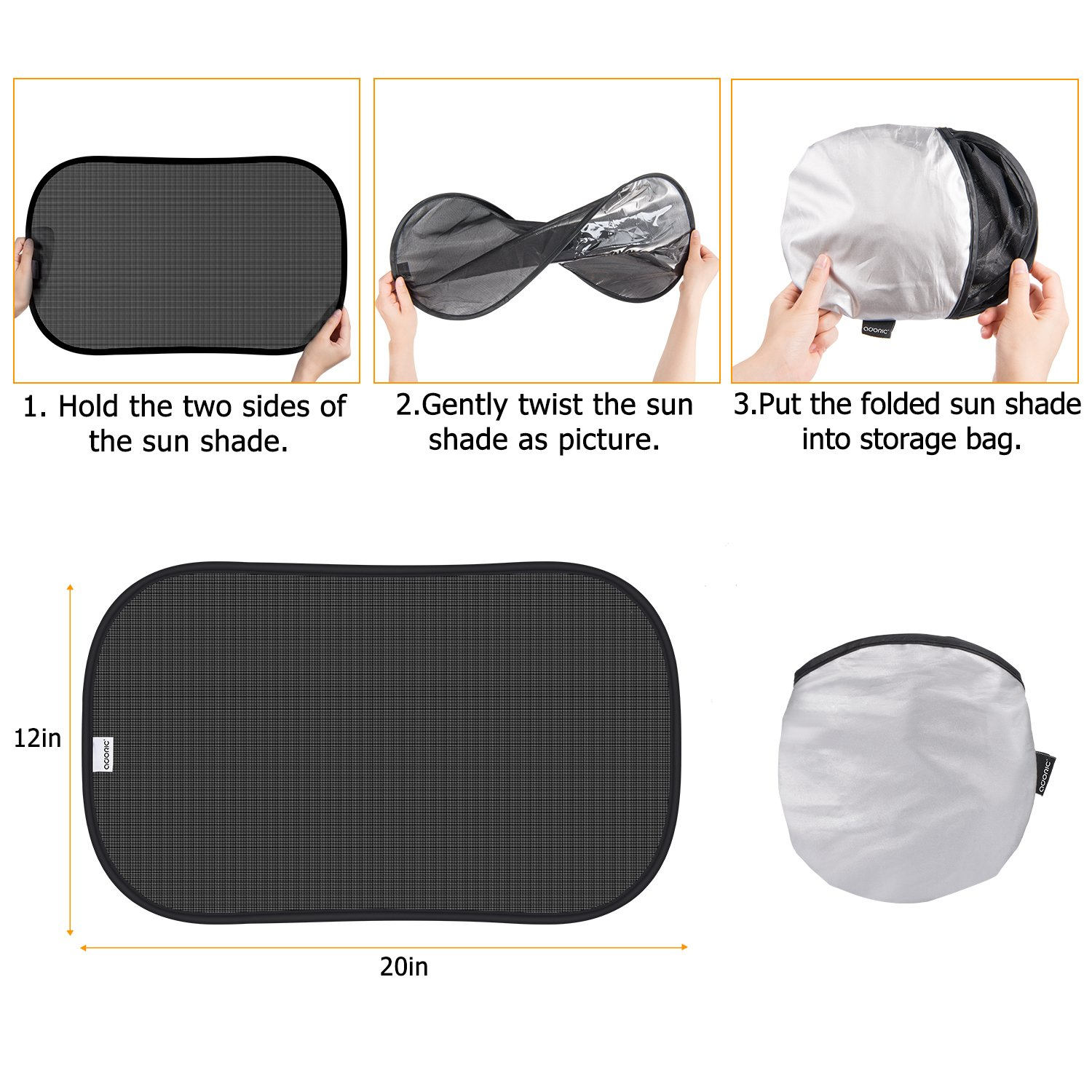 2 Pack for Baby Kids Side Window Sunshades for normal Size Window iZoeL Car Sun Shade