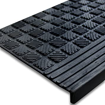 etm Set of 5 Outdoor Rubber NonSlip Stair Treads Diamond 08