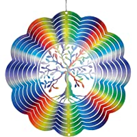 CIM Metal Wind spinner - Rainbow Tree of Life - 250mm - easily spinning wind mobile with brilliant colours - including suspension - attractive room, window and garden decoration