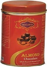 Skylofts Chocolate Covered Almonds Round Tin Box Dry Fruit Chocolates - 100 Grams