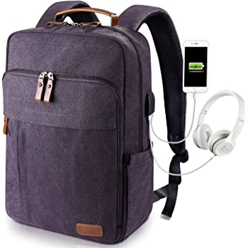 Estarer 17-17.3 Inch Laptop Backpack with USB Charging Port,Mens Water Resistant Canvas Lightweight Rucksack for Work School College