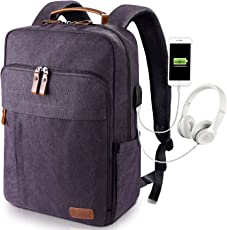 Estarer Laptop Rucksack 15,6 Zoll - 17,3 Zoll mit USB Anschluss aus Wasserabweisend Canvas