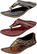 Ziaula Women Ethnic|Traditional|Flat|Slipper Combo of 3|