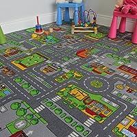 The Rug House Tapis de Jeu pour Enfants avec Routes et Village, Polyamide, Gris, 140 x 200 cm