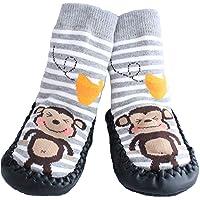 Calze/scarpette antiscivolo da neonato/a per uso interno, grigie, a righe, con scimmia