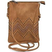 styleBREAKER petit sac à bandoulière avec motifs découpés en forme de zigzag et rivets, sac à bandoulière, sac, femme 02012211