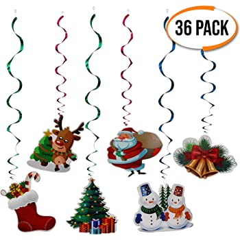 the twiddlers 36 christmas ceiling decorations perfect xmas party decor 6 different christmas designs
