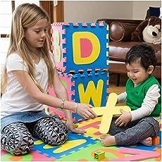 MousePotato Floor Puzzle Eva Mat 26 Piece ABC Tiles Each 1 x 1 Foot Alphabet Thick Foam Play (Multicolour)
