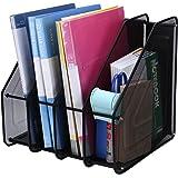 TOROTON 4 Compartiments Fichier Document Corbeille à Courrier File Organizer Rack Papier pour Rangement de Bureau Métallique