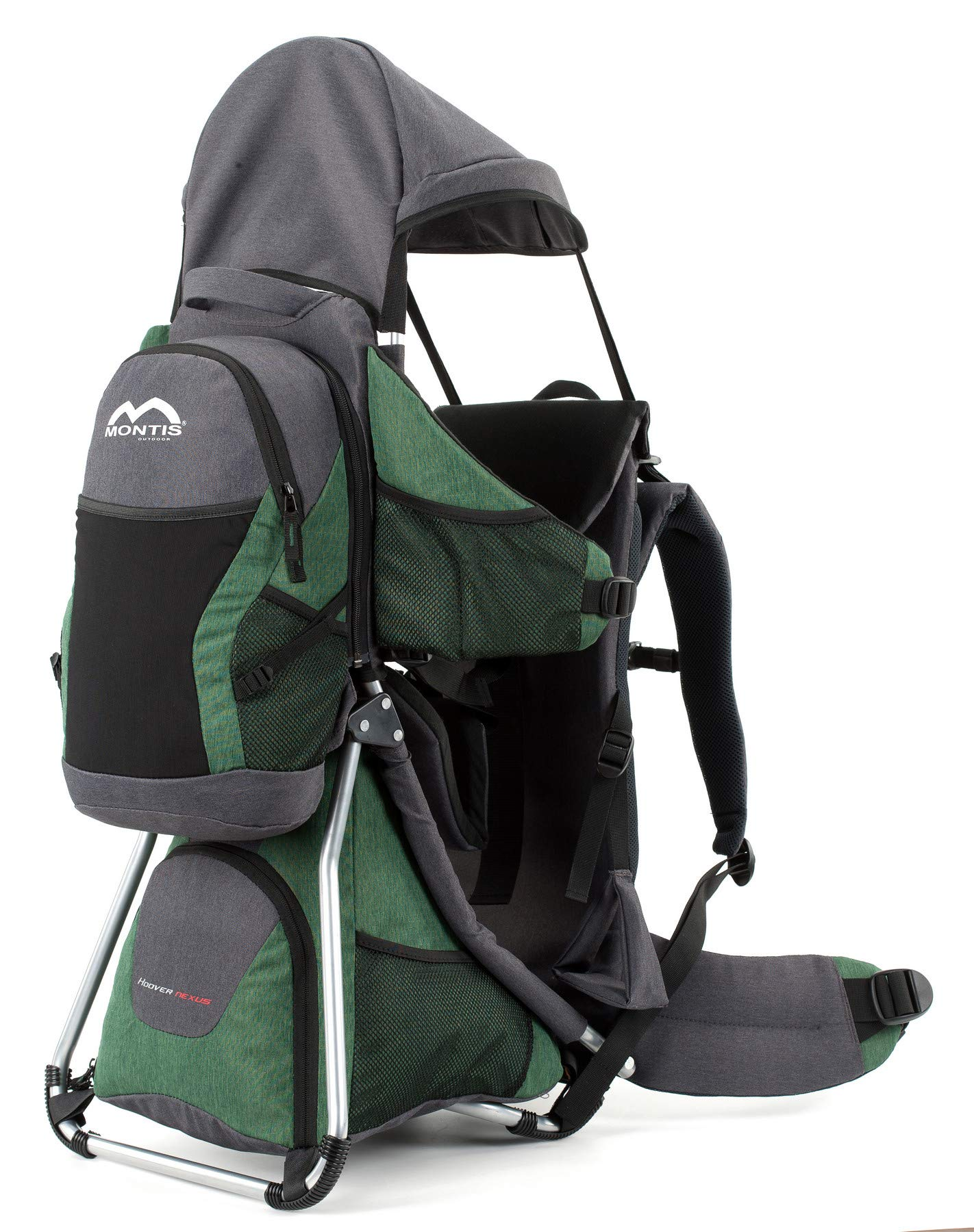 Montis HOOVER NEXUS, Child Hiking Backpack Carrier, suitable for babies & toddlers with a stable seat, low weight suitable, many extras, premium quality (GREEN) M MONTIS OUTDOOR ✅ SAFE - Practical baby carrier backpack completely adjustable with wide 5-point child harness for children weighing up to 25 kg instead of 20 kg. Thanks to height-adjustable seat cushions, padded side panels, a rear headrest, and forehead cushions, it is ideal for hiking in the city or in the country. With reflective elements on the front and back for night protection. ✅ COMFORTABLE - Suitable for both parents thanks to adjustable shoulder straps, a 14 cm adjustable chest strap with a vertical position for women's ergonomics, and reinforced back area (incl. ventilation system) with load distribution to the pelvic belts. We use materials of the highest quality and focus on flawless manufacturing. ✅ SPACIOUS - Removable additional backpack 10L and seat pocket with 18L volume provide the carrier with additional storage space for water bottles, rain protection, sun protection, changing mat and much more. In addition, the straps of the baby carrier are equipped with small quick-access pockets to avoid the need of constantly taking off the carrier. 2
