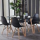 H.J WeDoo Table et Chaise Salle a Manger, Rectangulaire Table en MDF avec 4 Chaises Scandinave pour Mmaison, Bureau, Cuisine,
