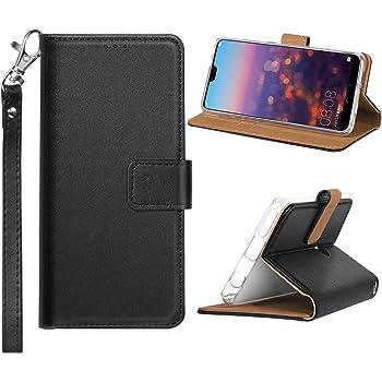 Custodia Huawei P20 Lite, Cover Huawei P20 Lite, AVIDET Flip Cover Custodia Protettiva in Pelle PU Leather Wallet Case Stand per Huawei P20 Lite(Nero)