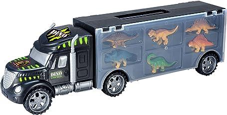Toys Bhoomi 2 in 1 Dinosaur Safari Transport Car Long Haul Carrier Truck Garage Case to Store 6 Dino's