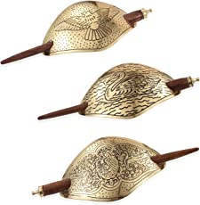 Vaibhav Hair Accessories Set of 3 Hair Clips For Girls in Brass With Holding Wooden Stick