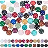 PandaHall 50 cabujones de piedras preciosas de 25 colores, cuentas de piedra sintética natural de 12 mm, cabujones de cristal