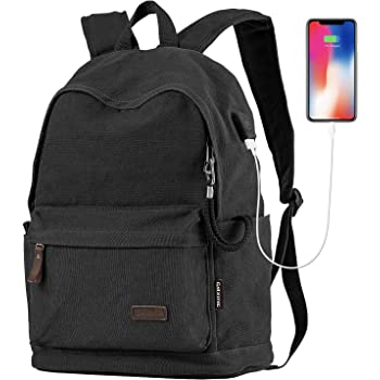 CMXING Vintage Unisex Casual Canvas Backpack Laptop Bag Business Backpacks School  Backpack Travel Backpack Casual Daypacks with USB Charging Port (Black) 1f435f933ca03