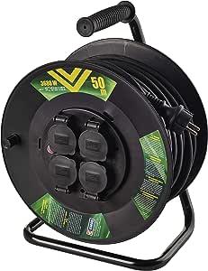 Emos P08250 Profi Kabeltrommel 50m Kabel Mit 4 Schuko Steckdosen 1 5 Mm2 Gummi Ip44 Für Außenbereich 50 Meter Baumarkt