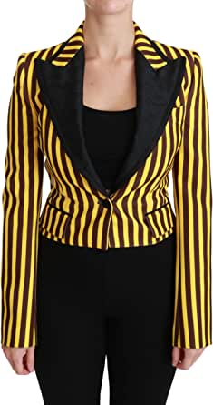 Dolce & Gabbana Black Yellow Striped Blazer Coat Jacket