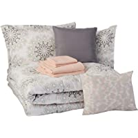 AmazonBasics 10-Piece Comforter Bedding Set, Full / Queen, Grey Boho Medallion, Microfiber, Ultra-Soft