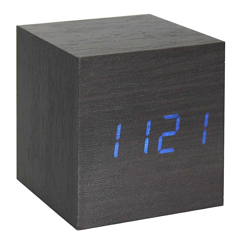 onever cube walnut click clock digital led desk alarm clock voice  - onever cube walnut click clock digital led desk alarm clock voice controlthermometer timer calendar (black) amazoncouk kitchen  home