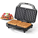 Salter EK2249 Deep Fill Waffle Maker with XL Non-Stick Cooking Plates, 900 W, Silver, Stainless Steel,