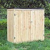 WilTec Armoire de Jardin Bois Double Porte Rangement Outils Remise Abri Cabane Remise Jardinage Équipement