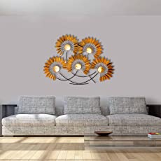 Craftter Large Flowers Gold Finish Decorative Wall Art Hanging Sculpture