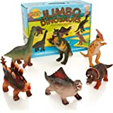 Learning Minds | Dinosaur Toys | Jumbo Dinosaur Figures | Soft & Safe | Learning Toys For Boys and Girls | Sized Up To 15cm Height And 18cm Length | Set of 6 Jurassic Park Toys | 18 Months +