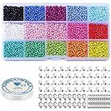 7500 stuks glazen kraaltjes, 3 mm, veelkleurig assortiment kleine kraaltjes, met kreeftsluitingen, springringen, kralen koord