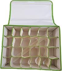 Inditradition Foldable Non-Woven Cloth 24 Shelf Wardrobe Storage Organizer, (SOCKS_ORG_24SHELF_001, Green)