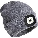 PRAVETTE LED-upplyst beanie-hatt, USB-laddningsbar handsfree pannlampskeps, unisex vintervärmare stickad mössa med ljus för m