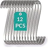 12 platte S-haken van roestvrij staal - tot 25 kg belastbaar - 11 cm groot - roestvrije S-haken om op te hangen